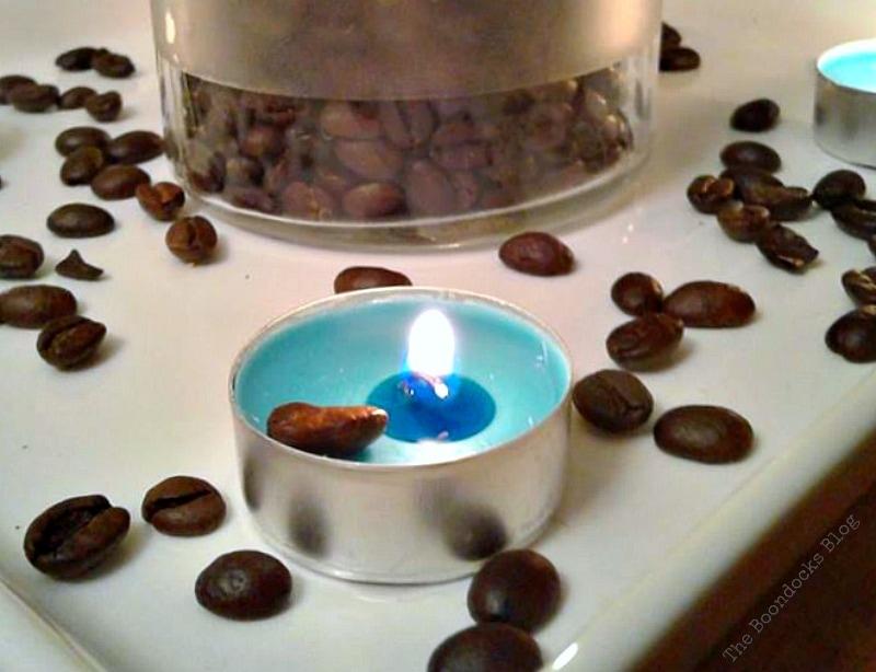 blue lit tealight, Coffee with Tealights please www.theboondocksblog.com