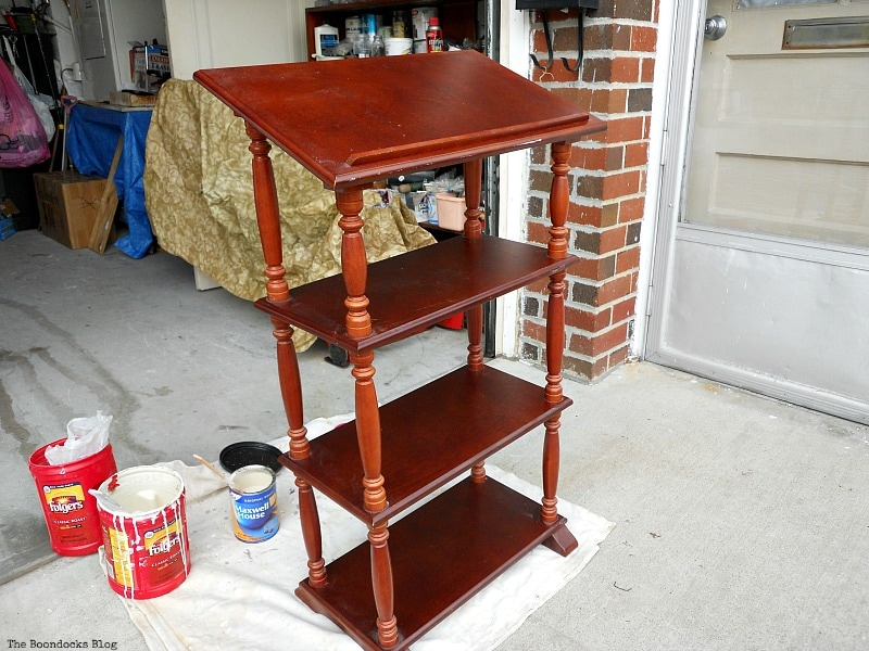 Getting ready to paint, How to Upcycle a Dictionary Stand with Chalk Paint www.theboondocksblog.com