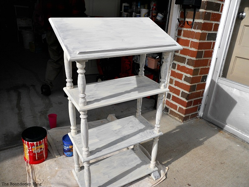 after first coat, How to Upcycle a Dictionary Stand with Chalk Paint www.theboondocksblog.com