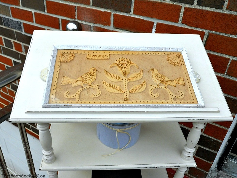 top view with wooden tray, How to Upcycle a Dictionary Stand with Chalk Paint www.theboondocksblog.com