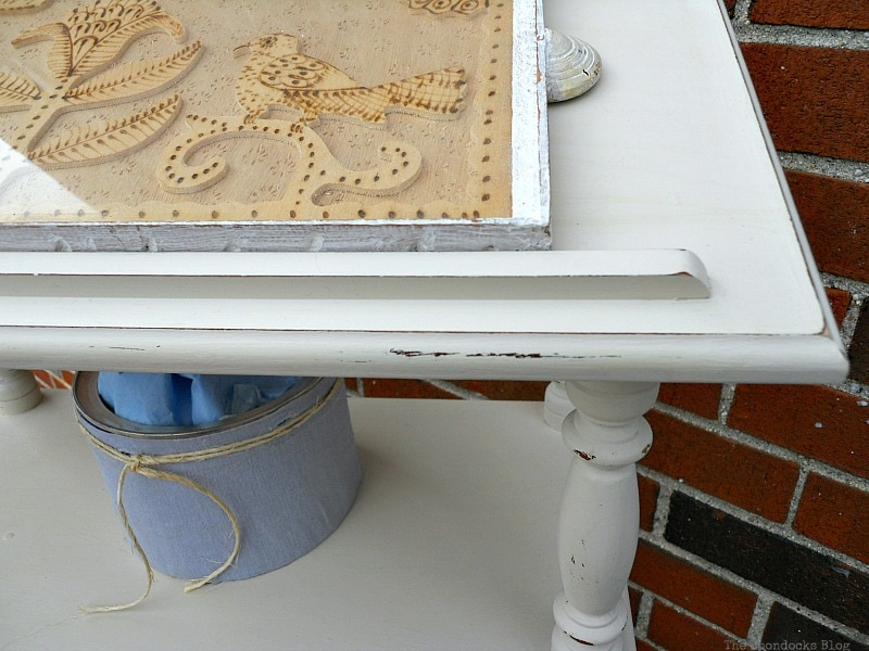 detail of corner, How to Upcycle a Dictionary Stand with Chalk Paint www.theboondocksblog.com