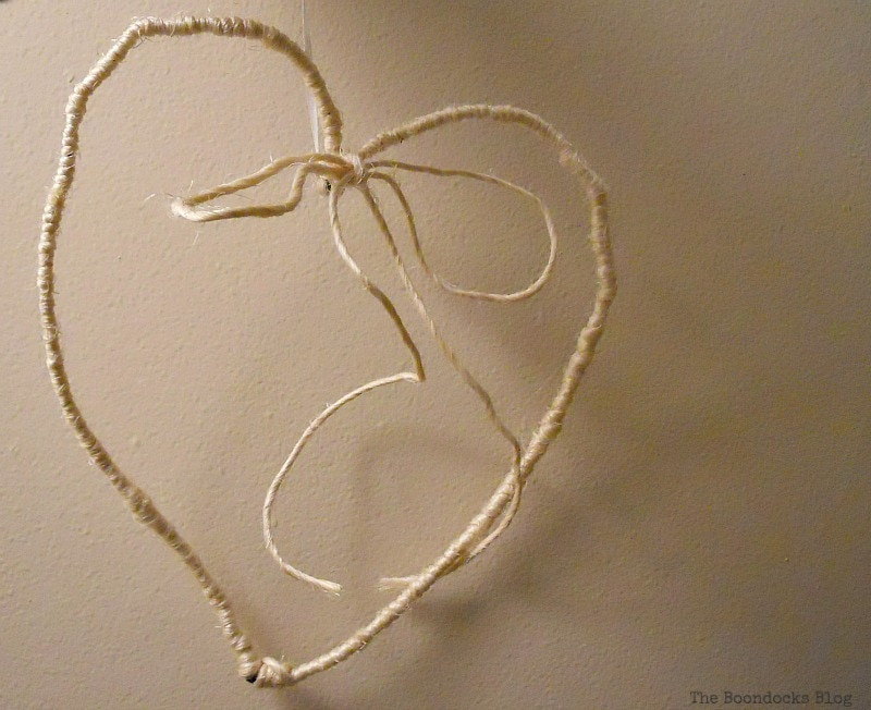 twine wrapped wire heart, Valentine's Day Framed Heart Craft - Int'l Bloggers Club www.theboondocksblog.com