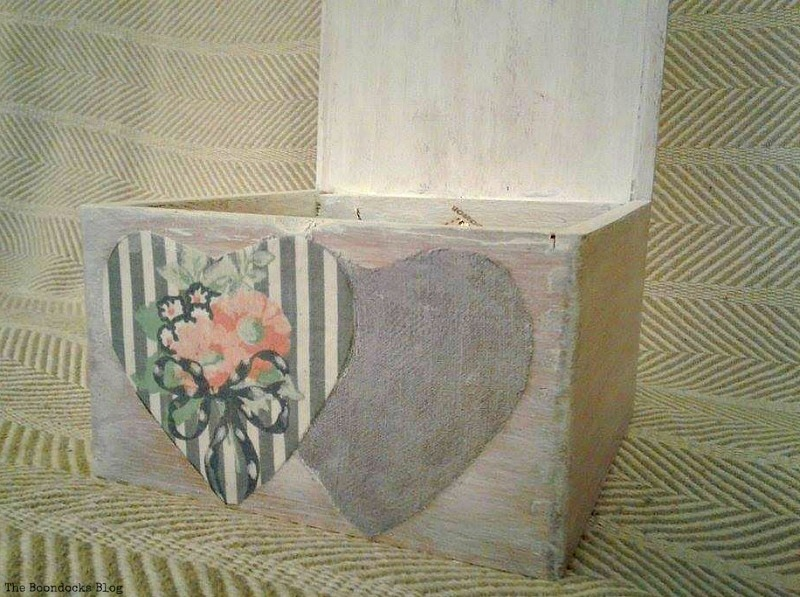 subtle hearts on outside of wooden box, Valentine's Day Wooden Gift Box www.theboondocksblog.com