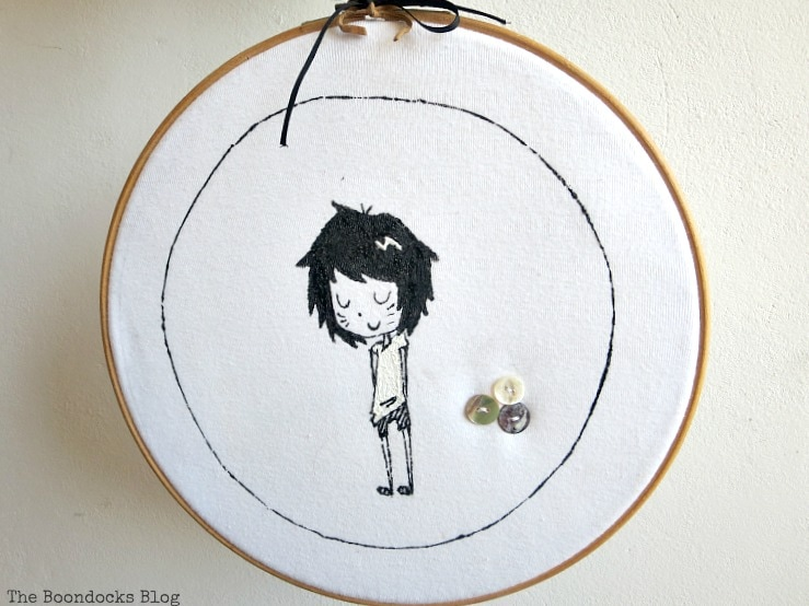 t-shirt placed into the embroidery hoop, An Easy Repurpose of a T-Shirt into Wall Art, www.theboondocksblog.com