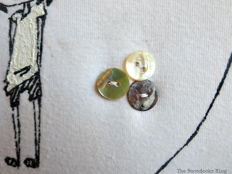 pretty buttons, An Easy Repurpose of a T-Shirt into Wall Art, www.theboondocksblog.com