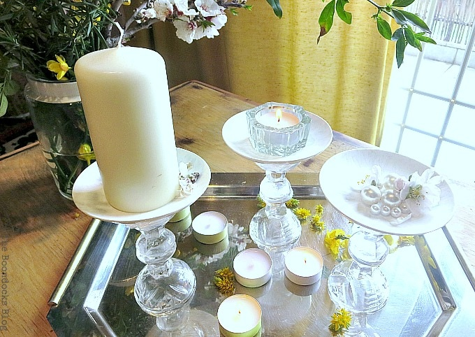 Tray with cordial glass pedestals, Repurposed Cordial Glasses and Saucers for a Spring Craft Pedestal, www.theboondocksblog.com