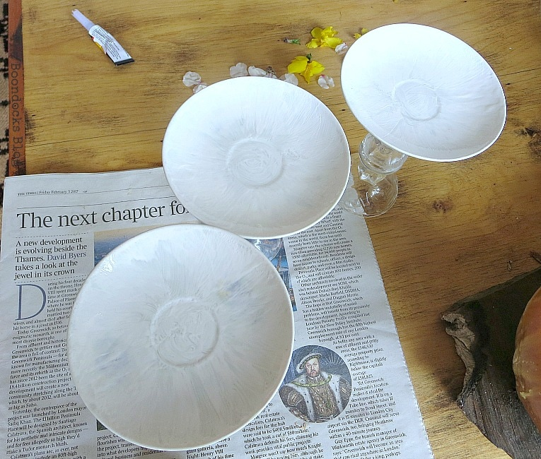 painting the saucers, Repurposed Cordial Glasses and Saucers for a Spring Craft Pedestal, www.theboondocksblog.com
