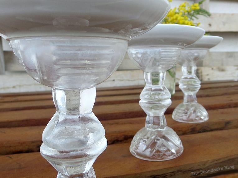 the finished spring craft pedestals, Repurposed Cordial Glasses and Saucers for a Spring Craft Pedestal, www.theboondocksblog.com