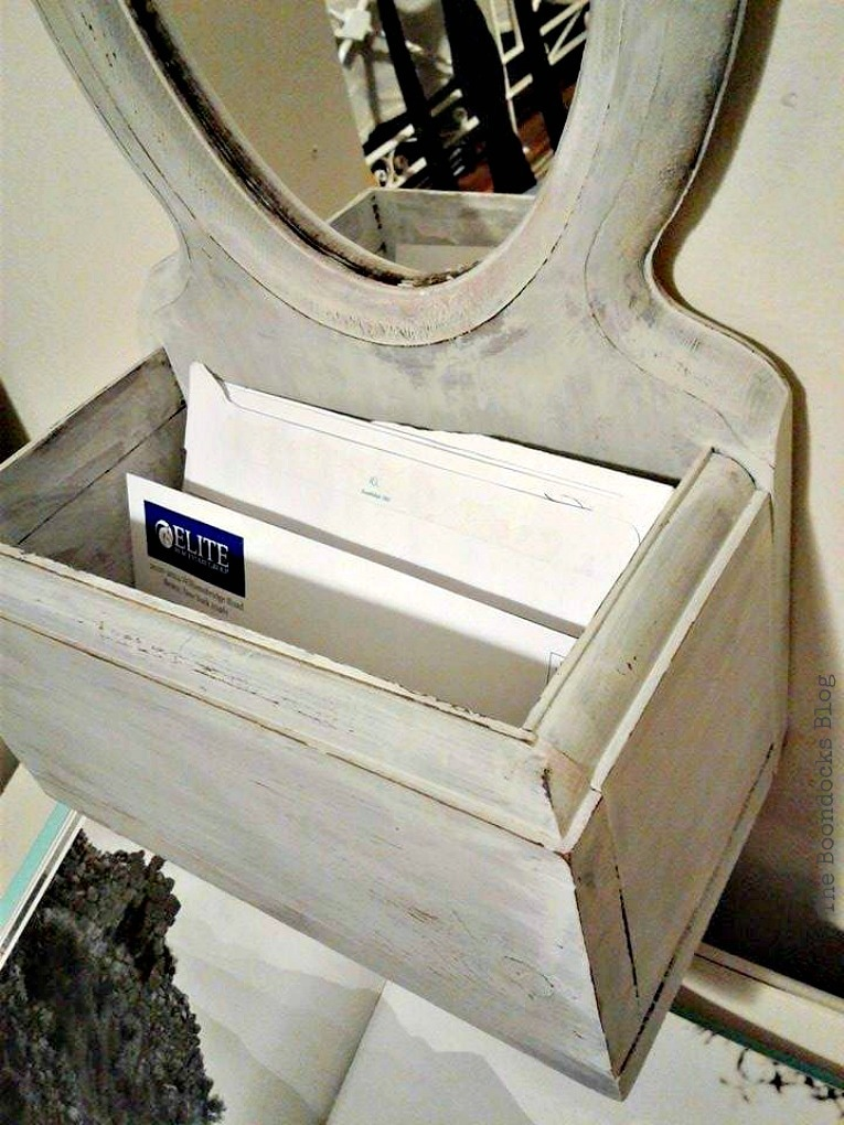 storage box with Mirror painted in Oyster White OFMP, Mirror Makeover with Old Fashioned Milk Paint. www.theboondocksblog.com
