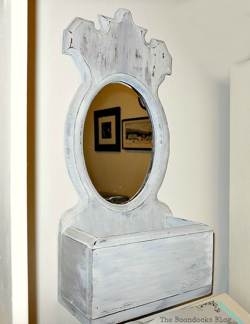 Wooden Mirror with box painted with OFMP Oyster White, Mirror Makeover with Old Fashioned Milk Paint. www.theboondocksblog.com