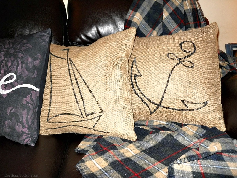 3 pillows on couch, Handmade Pillow Cases with Personality by Make Lemonade Shop www.theboondocksblog.com