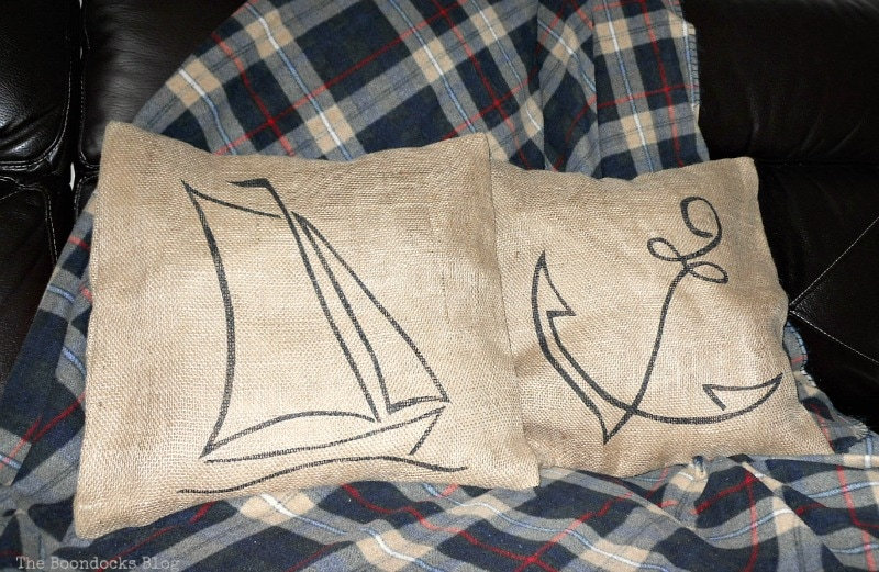 two burlap pillows, Handmade Pillow Cases with Personality by Make Lemonade Shop www.theboondocksblog.com