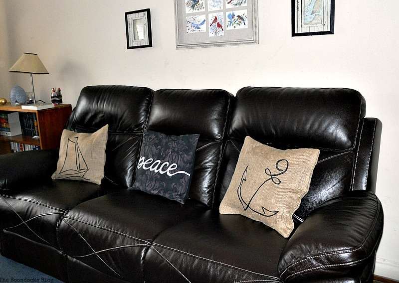 3 pillows against dark couch, Handmade Pillow Cases with Personality by Make Lemonade Shop www.theboondocksblog.com