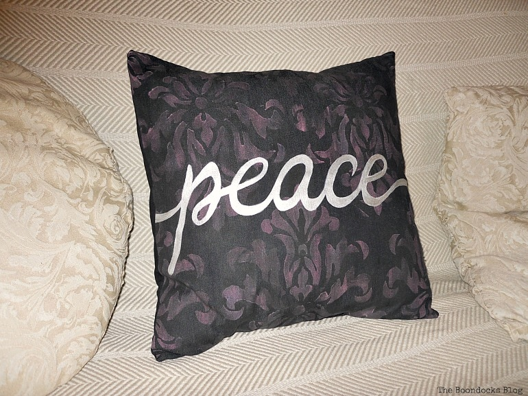 Peace blue jean pillow, Handmade Pillow Cases with Personality by Make Lemonade Shop www.theboondocksblog.com