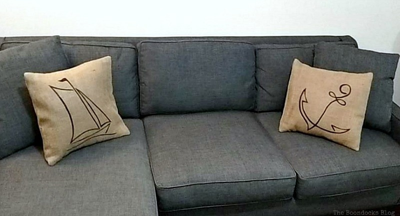 2 burlap pillows on sectional, Handmade Pillow Cases with Personality by Make Lemonade Shop www.theboondocksblog.com