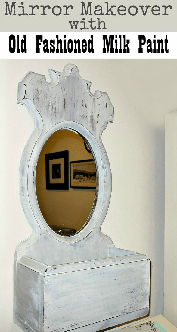 Mirror with storage box makeover with Old Fashioned Milk Paint in Oyster White, Mirror makeover with Old Fashioned Milk Paint www.theboondocksblog.com