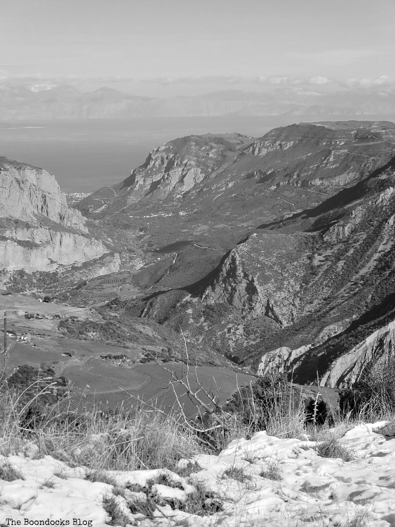 view from the mountains to the bay, Snowy Mountains of Greece, www.theboondocksblog.com