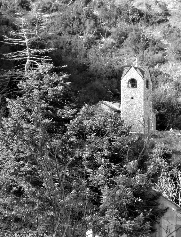 Church among the trees, Snowy Mountains of Greece, www.theboondocksblog.com