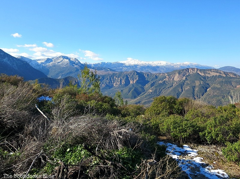 Looking over to the mountain range, Snowy Mountains of Greece, www.theboondocksblog.com