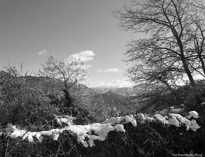 looking over the snow covered hedges, Snowy Mountains of Greece, www.theboondocksblog.com