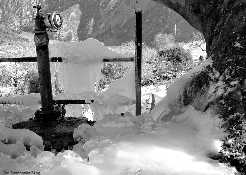 frozen water faucet, Snowy Mountains of Greece, www.theboondocksblog.com