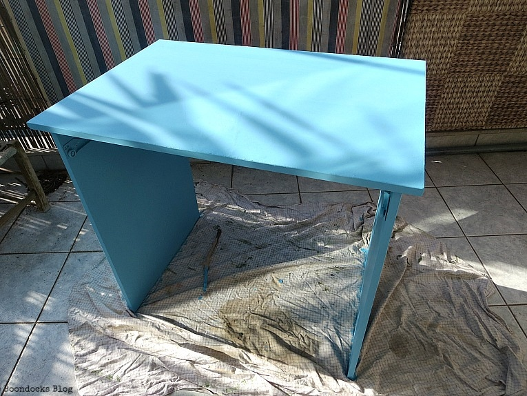 After 2 coats of paint, Fabulous Ikea Desk Makeover with Chalky Finish Paint, thebookdocksblog.com