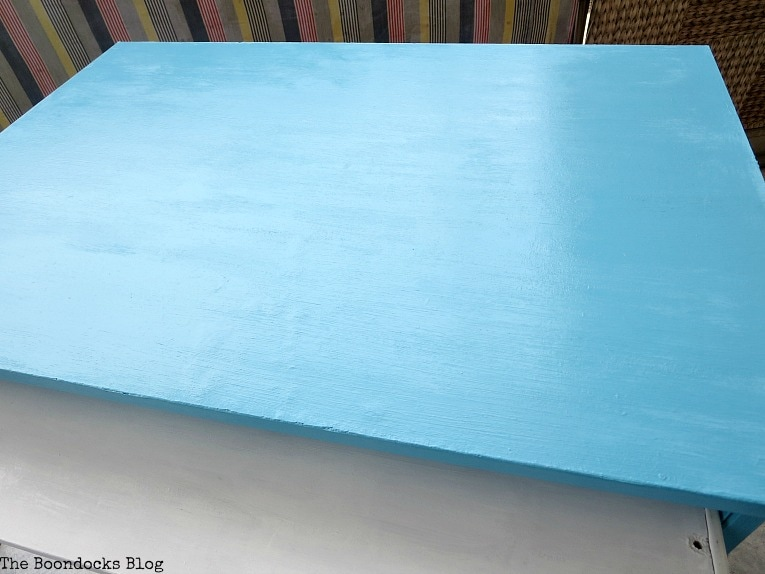 Painting the keyboard shelf, Fabulous Ikea Desk Makeover with Chalky Finish Paint, thebookdocksblog.com