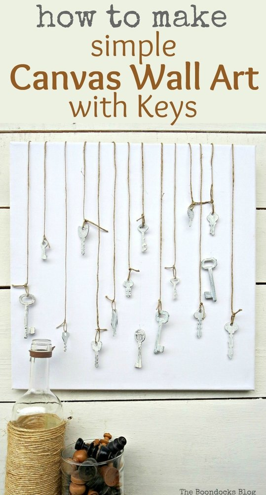 How to make simple canvas wall art with keys, just paint the keys with chalk paint tie them with twine and attach them using masking tape, How to Make Simple Canvas Wall Art with Keys