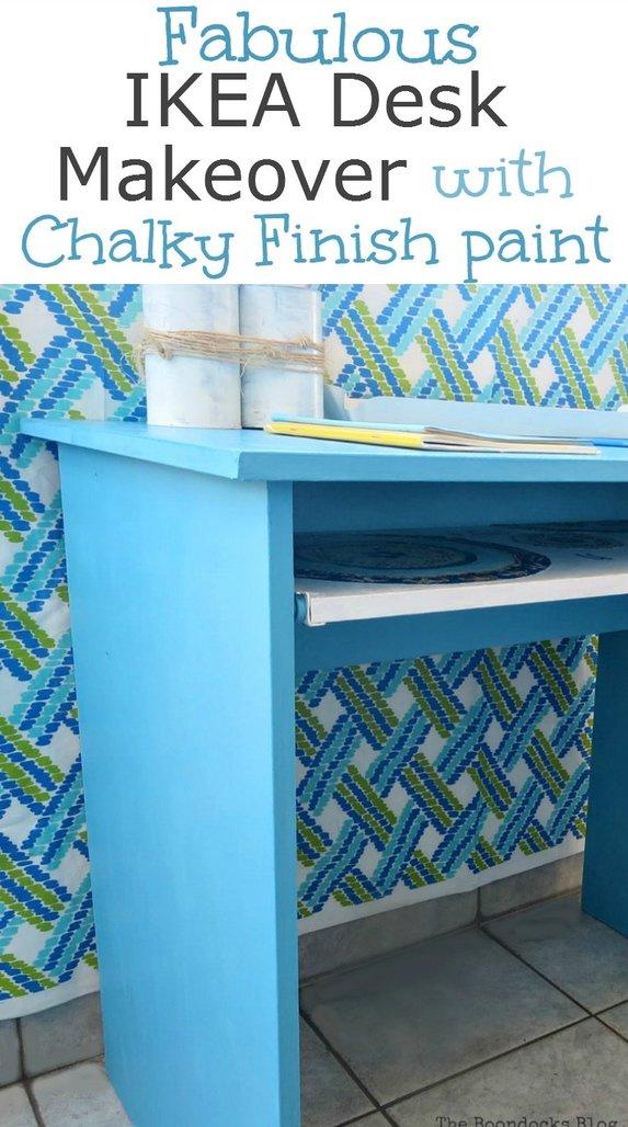 Ikea desk makeover with chalky finish paint, #Ikeahack #ikeadeskmakeover #furnituremakeover #upcycledfurniture #upcycleddesk #decoupageddesk #chalkyfinishpaint Fabulous Ikea Desk Makeover with Chalky Finish Paint, thebookdocksblog.com