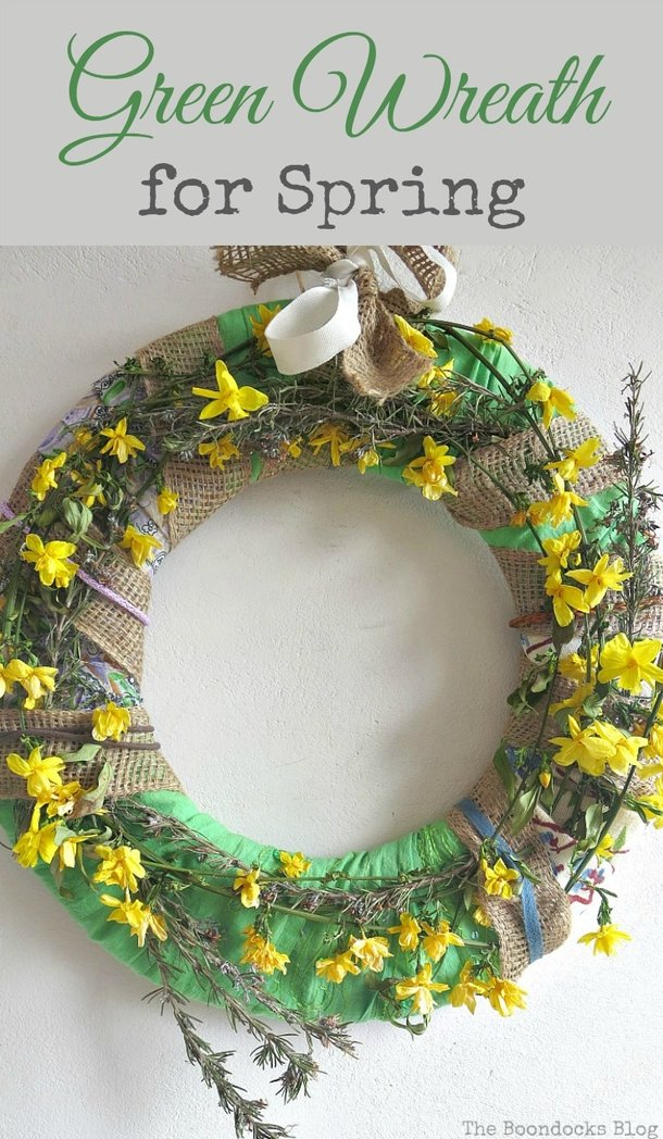 using real flowers and strips of fabic to create a spring wreath, How to Make a Green Wreath for Spring www.theboondocksblog.com