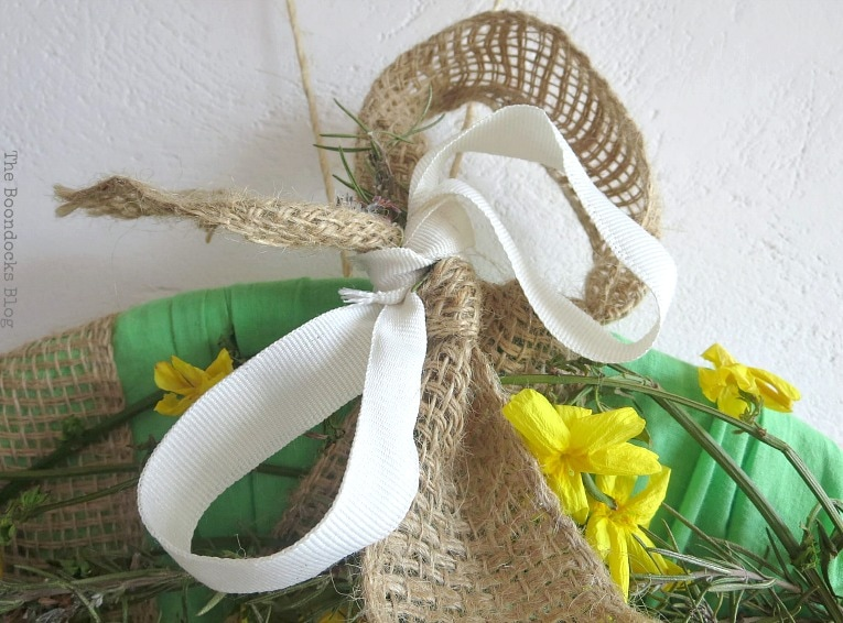 white ribbon, How to Make a Green Wreath for Spring www.theboondocksblog.com