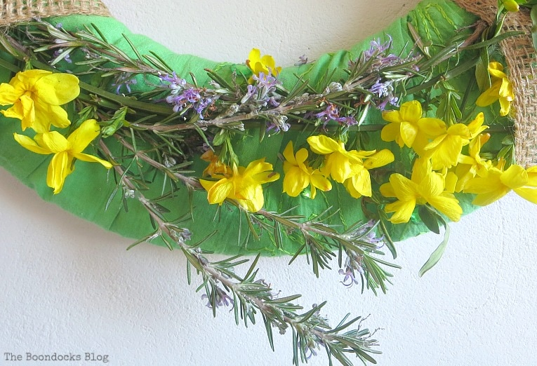yellow flowers, How to Make a Green Wreath for Spring www.theboondocksblog.com