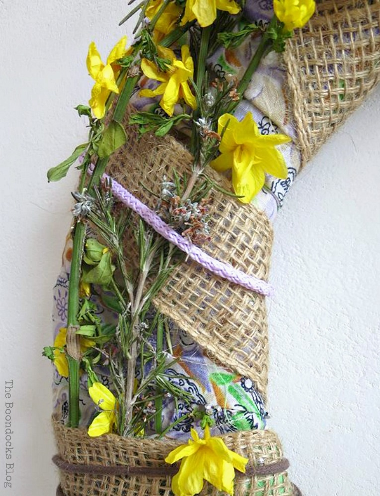 lavender ribbon, How to Make a Green Wreath for Spring www.theboondocksblog.com