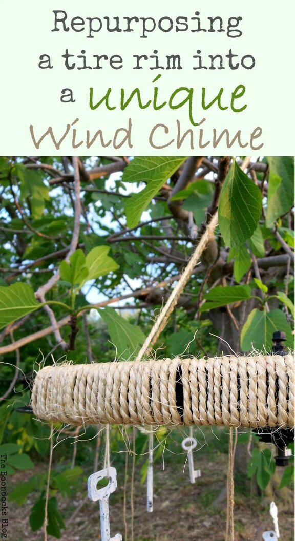 wind chime repurposed from a bicycle tire rim, #DIY #outdoordecorating #repurpose #tirerim #OutdoorDIY #EasyDIY #Windchime #tirerimwindchime #Nature #IBC How to Re-purpose a tire rim into a Unique wind chime - Int'l Bloggers Club www.theboondocksblog.com