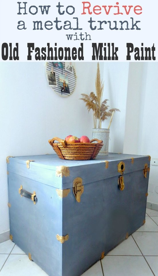 Have you ever tried to revive an old metal trunk? I had great results using Old Fashioned Milk Paint. How to Revive a Metal Trunk with Old Fashioned Milk Paint, www.theboondocksblog.com