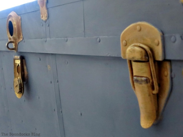 hardware, How to Revive a Metal Trunk with Old Fashioned Milk Paint, www.theboondocksblog.com