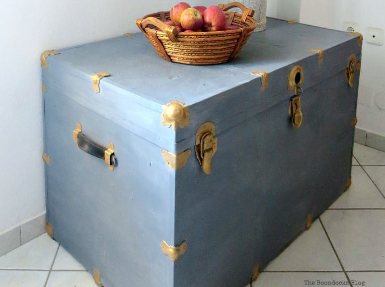 soft brushstrokes for a cloudy effect, How to Revive a Metal Trunk with Old Fashioned Milk Paint, www.theboondocksblog.com