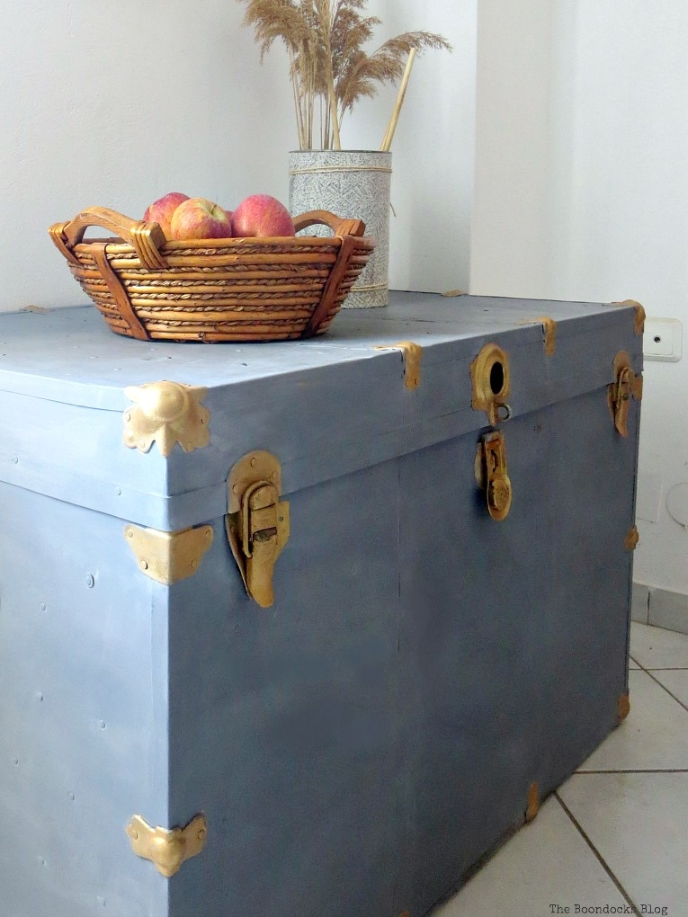 reviving a metal trunk with old fashioned milk paint, How to Revive a Metal Trunk with Old Fashioned Milk Paint, www.theboondocksblog.com
