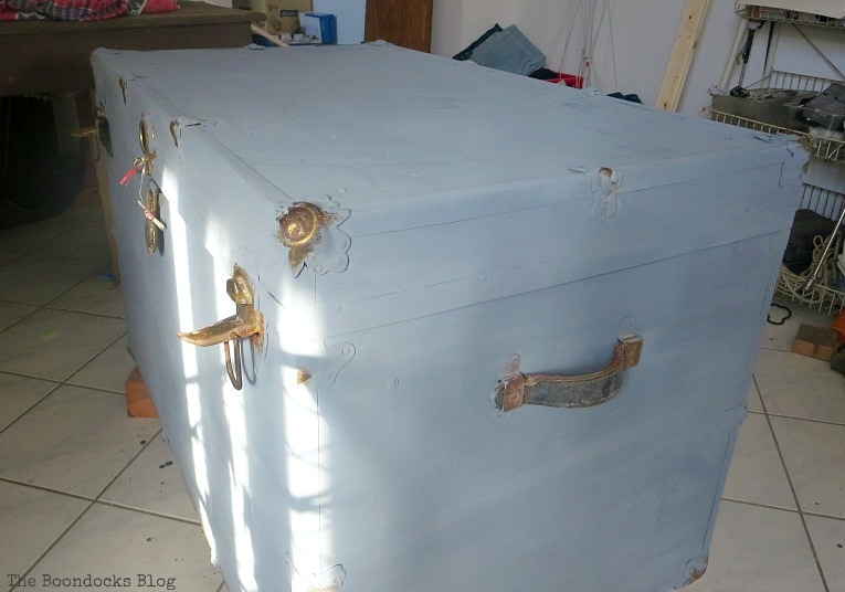applying the paint, How to Revive a Metal Trunk with Old Fashioned Milk Paint, www.theboondocksblog.com