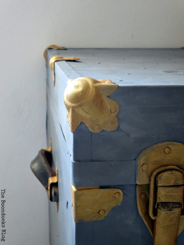 adding the beeswax, How to Revive a Metal Trunk with Old Fashioned Milk Paint, www.theboondocksblog.com