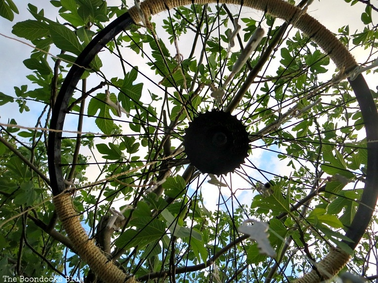 looking up the tire rim, How to Re-purpose a tire rim into a Unique wind chime - Int'l Bloggers Club www.theboondocksblog.com