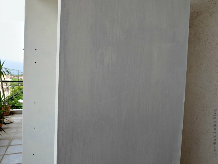 Adding the custom gray color to the exterior, How to Upcycle MDF Bookcases and Avoid Mistakes www.theboondocksblog.com