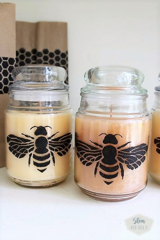 Bee stenciled candles, Stow and Tell U, How to Pamper Mom for Mother's Day with DIY Gift Ideas www.theboondocksblog.com