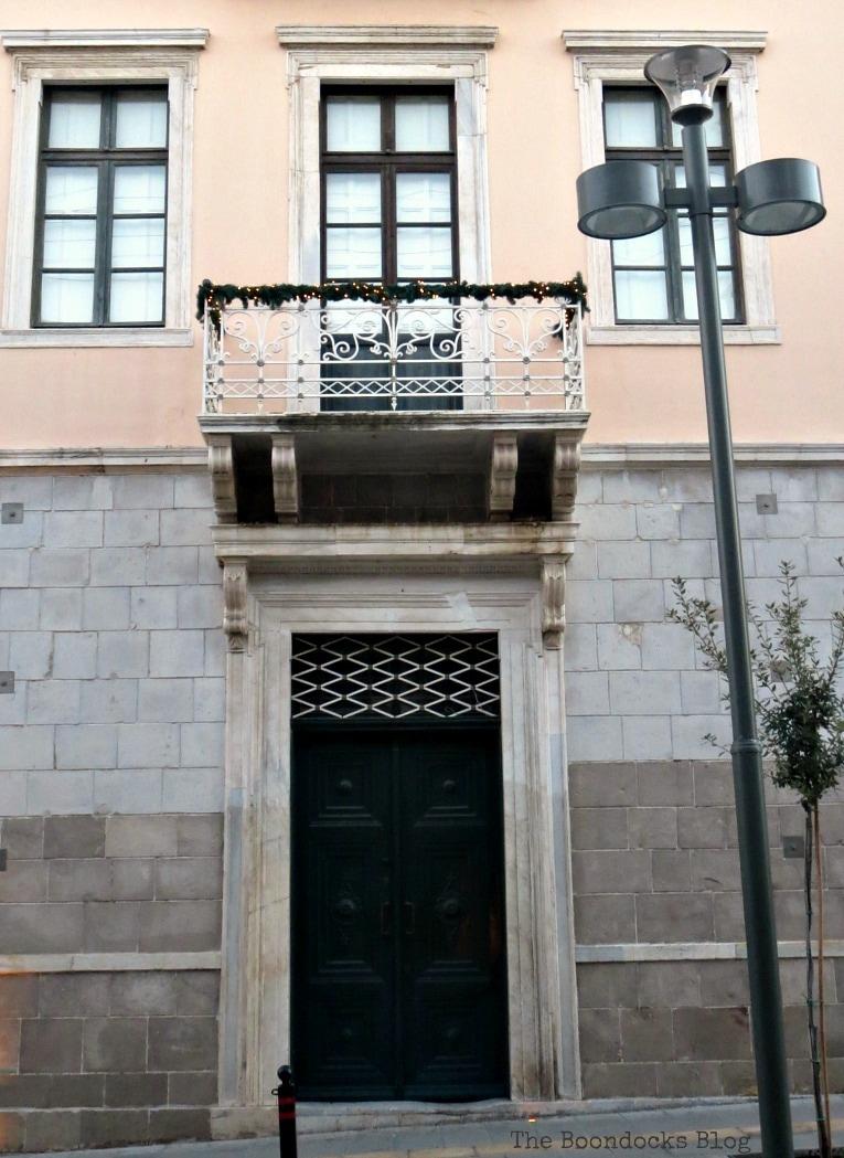 Entrance, An Old Greek Mansion in the Center of Town, www.theboondocksblog.com