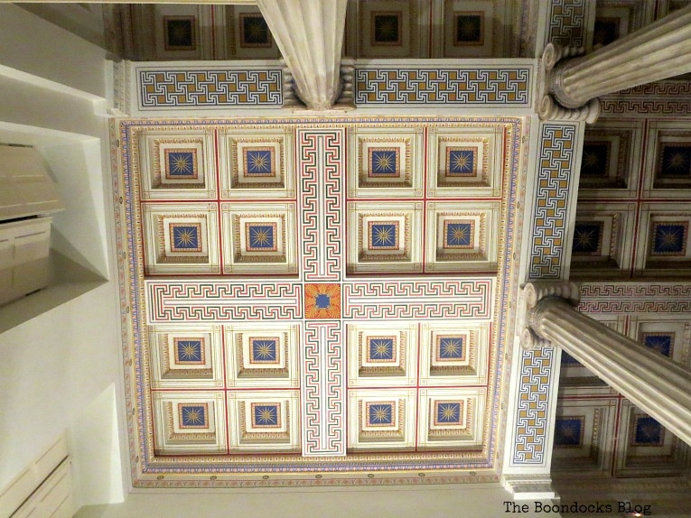 Ceiling with Ionic columns, An Old Greek Mansion in the Center of Town, www.theboondocksblog.com