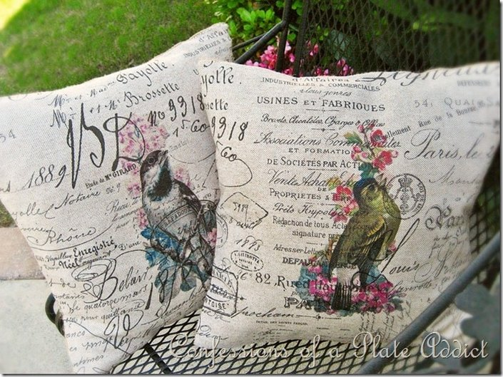Bird print pillows, Confessions of a Plate Addict, How to Pamper Mom for Mother's Day with DIY Gift Ideas www.theboondocksblog.com