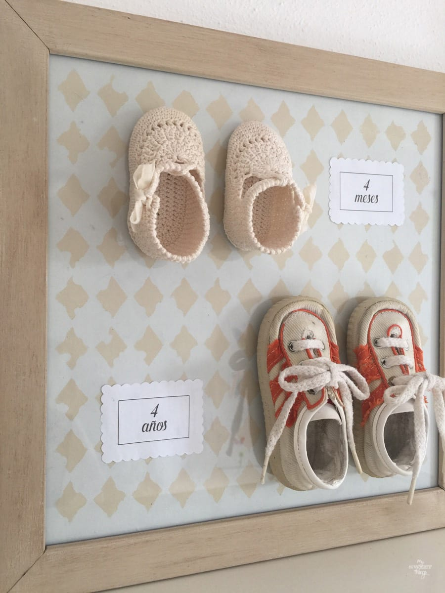 Personalized wall art with baby shoes, My Sweet Things, How to Pamper Mom for Mother's Day with DIY Gift Ideas www.theboondocksblog.com