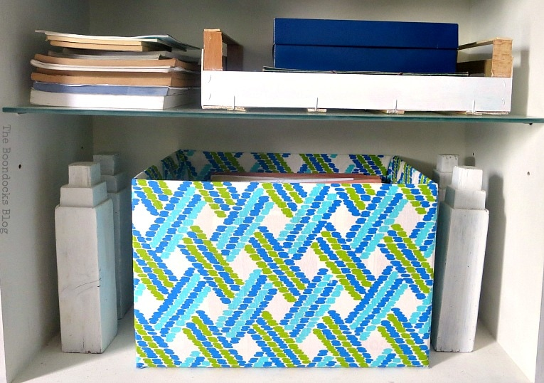 cardboard box covered with fabric, Pretty and Practical Bookcases the Easy Way www.theboondocksblog.com