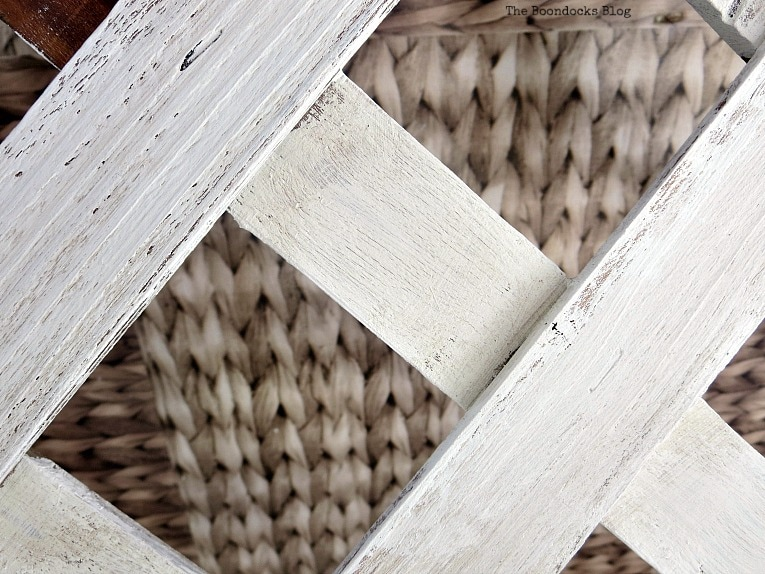 Painting the lattice strips with Oyster White.