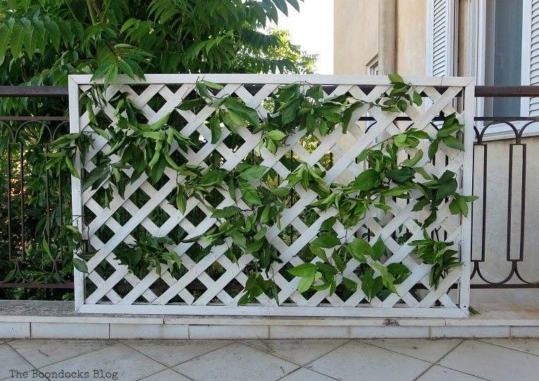 Adding greenery to the lattice, Make an Easy Colorful Fence with Dollar Store Flowers www.theboondocksblog.com